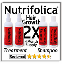4 MONTH NUTRIFOLICA HAIR REGROWTH TREATMENT SHAMPOO growth natural sulfate free