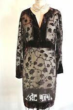 SHARAGANO Brown Sheer Floral Dress Tunic Top Velvet trim Long Sleeve M-10