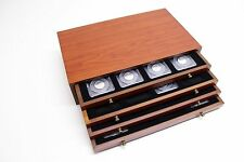 CHERRY WOOD COIN CHEST w/ 4 DRAWERS - HOLDS 32  CERTIFIED NGC COIN SLABS