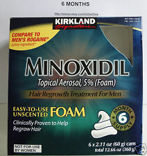 6 Months 5% Foam Minoxidil Hair Regrow/Hair Loss for Men Kirkland Sealed!! 2018