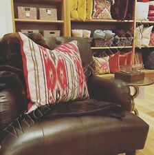 """Pottery Barn Holiday Ikat Pillow Cover Red 24"""" Stripe Southwest New"""