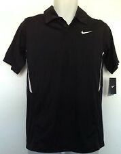 Nike Boys Athletic Shirt Black/White Dri-Fit Stay Cool SS Collar Size XL NWT
