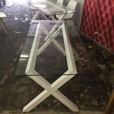 Habitat Dublin 8 Seater White And Glass Dining Table RRP £395