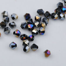100pcs black ab exquisite Glass Crystal 4mm #5301 Bicone Beads loose beads @