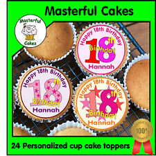 24 PERSONALISED 18th BIRTHDAY DESIGN 3 EDIBLE RICE PAPER CUP CAKE TOPPERS