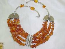 Modernist Genuine Baltic Honey Amber Nuggets Bead Sterling Silver Necklace #1546