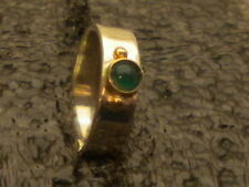 STERLING SILVER 925 W/GOLD ACCENTS GREEN ONIX RING SIZE 6.5