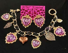Betsey Johnson cuty pink Leopard xox crystal earrings and bracelet