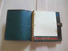 VINTAGE & RARE!  GUCCI 3-RING NOTEBOOK BROWN LEATHER RED GREEN STRIPE + stationy
