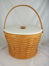 Longaberger 1995 Sewing Basket w Lid & Protectors White Lid