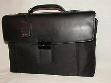 Tumi Ticon 32602 Slim Black Leather Nylon Brief Case Laptop Bag Mens Womens Tote
