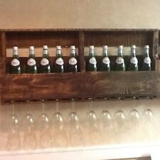 Handmade Distressed Wine Rack With Glass Holder Made With Reclaimed Wall mounted