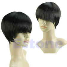 Vogue Short Straight Men Cosplay Party Costume Hair Full Wig Black/Brown