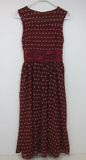 Lindy Bop Cindy Classy Yet Sassy Party Dress - Small - Burgundy Polka Dot - NWT