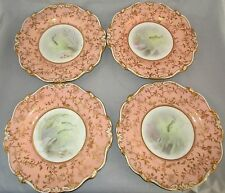 Antique Minton China Set of  FOUR Painted Fish Scene Plates c.1900, Signed AHW