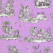 Michael Miller Magical Flower Fairy DC4213 Purple Toile Cotton Fabric FREE SHIP