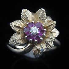 Mid Century Diamond Ruby 14k Yellow Gold Floral Ring Flower Estate Vintage