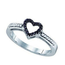 10K Whitegold Ladies Black Diamond Heart Ring 0.12 Ct