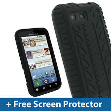 Black Silicone Tyre Skin for Motorola Defy MB525 & Defy+ Android Smartphone Case