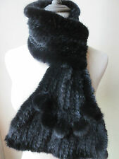 Fashion  Women's  Latest style  Real Best Mink Fur Knitted Scarf /BLACK