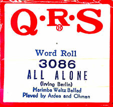 QRS Word Roll (Irving Berlin) ALL ALONE Arden & Ohman 3086 Player Piano Roll