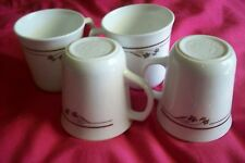 """Set of 4 Melody (Brown Flower and Bands, Corelle)  Cups / Mugs by Corning 3-1/2"""""""
