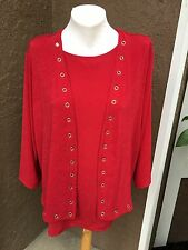 $159 2pc SET Chico's Travelers Sultry Red Tank Top Grommet Jacket 3 XL 16 18 NWT