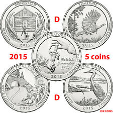 2015-D COMPLETE 5 COIN YEARLY SET NATIONAL PARK UNCIRCULATED QUARTERS US MINT