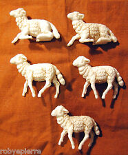 5 pecore sheeps del presepe crib vintage made in italy anticate pecorelle old