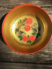 Khokhloma USSR Russia Folk Art Hand Painted Wood FRUIT BOWL Gold Red Lacquered