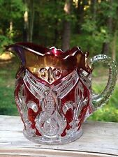 EAPG Early American Bryce Higbee Arched Fleur-de-Lis Creamer Ruby Stained