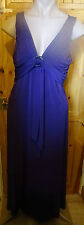 KALIKO PURPLE SILKY STRETCH SLEEVELESS V-NECK MAXI DRESS+IRRIDESCENT RING SZ 18