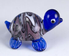 "Miniature Hand Blown Art Glass Striped Dark Blue Turtle Figurine 1.25"" Long"