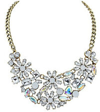 Fashion Charm Big Chain Link Pure color Resin Crystal Cluster Flower Necklace
