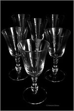 Set of 6 European-Made Vintage Glam Stemmed Wine Glasses Goblets