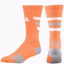 ADIDAS Team Speed Traxion Crew 1 Pair Socks Orange  White Gray Stripe Size Large