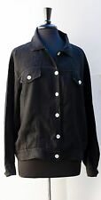 Marc Ware Hot Cotton Black Linen Jacket Solid Sz M Mother of Pearl EUC Casual