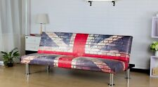 Modern PU Leather Union Jack Flag Print Sofa Bed Living Room Furniture Office