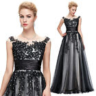 Elegant Black Lace Tulle Ball Gown Evening Prom Party Dresses Masquerade UK 4-18