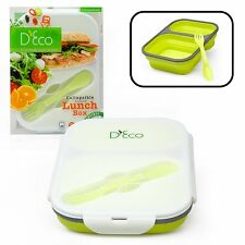 Silicone Collapsible Lunch Box with Two Compartments and Built in Fork Lime