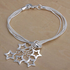 Unisex Women's 925 Sterling Silver Bracelet Adjustable Size L5