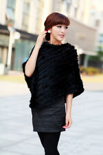Womens Real Rabbit Fur Wrap Shawl Scarf Cape Poncho Scarf Outwear Vest