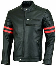 L Hybrid Fight Club 100% Sheep Leather Jacket Mens Fashion Coat .