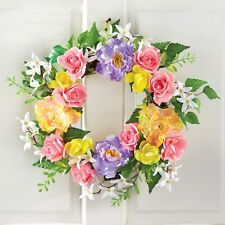 """16"""" Dia. Colorful Rose and Peony Rattan Srping Door Wall Wreath"""