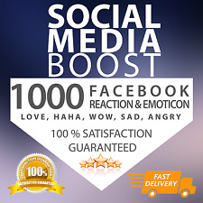 1000 Facebook Reactions for Photo/Video/Post - FAST DELIVERY - CHEAPEST ON EBAY