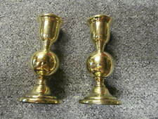 "Pair of UNUSUAL 4 5/8"" BRASS BALL/GLOBE CANDLESTICKS -  WEIGHTED BASES. *CS161*"