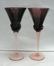 PAIR (2) MIKASA ART GLASS - BLOSSOM Pattern / PLUM (purple pink) WINE GOBLETS