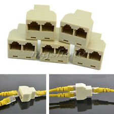5X 3 Sockets RJ45 6 LAN Ethernet Splitter Adapter Internet Connector Cable New
