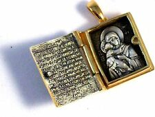 ORTHODOX RUSSIAN PENDANT-SILVER 925+GOLD GILD. OPEN WORK. LOCKET MEDAL SALE NEW