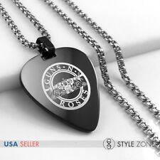Stainless Steel Guns N' Roses Band Guitar Pick Pendant w Round Box Necklace 14G